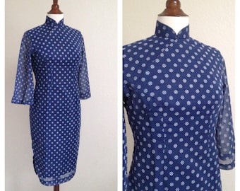 Vintage blue starburst sheer long sleeve qipao M
