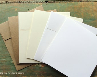 "100 Square Cards & Envelopes: 5.25"" Squared Folded Card with 5.5"" Squared Envelope, Recycled Kraft Brown, Light Brown, White, Ivory"