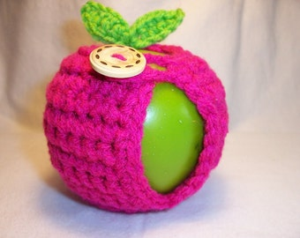 Handmade Crocheted Apple Cozy - Crochet Apple Cozy - Shocking Pink Color