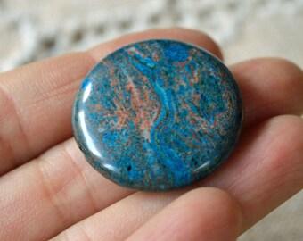 2pcs Blue Sky Jasper 30mm Flat Round Natural Gemstone Beads Round
