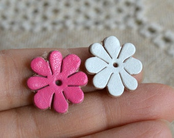 16 Leather Flowers 18x18mm Mixed Colors Die Cuts Jewelry Supplies