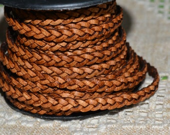 1 Yard 5mm Flat Braided Leather Cord Natural Brown