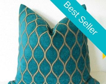 Iman Home Malta Peacock teal gold lattice decorative pillow cover