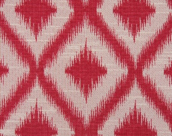 Ikat Fret Woven Raspberry decorative pillow cover