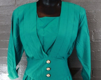 SALE Vintage 80s Turquoise Dress by Caroline Wells
