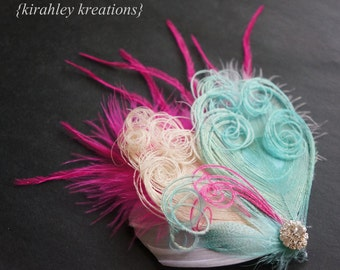 Ivory Hot Pink Aqua Teal Blue Peacock Ostrich Feather Bride Bridal Bridesmaid Wedding Fascinator SIERRA Prom Dance Headpiece Hair Clip