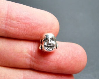 24 pcs Buddha head silver tone beads - 3D  -  ASA192