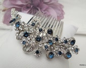 Blue Swarovski Crystal and Pearl Wedding Comb,Wedding Hair Accessories,Vintage Style Flower and Leaf Rhinestone Bridal Hair Comb,Pearl,MARCY