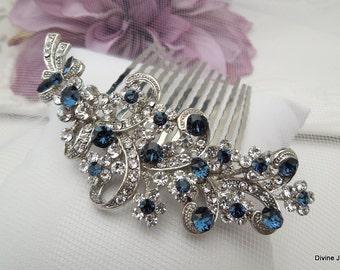 Blue Swarovski Crystal and Pearl Wedding Comb, Wedding Hair Accessories, Vintage Style Flower and Leaf Rhinestone Bridal Hair Comb, MARCY
