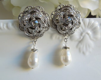 Bridal rhinestone Earrings Ivory swarovski Pearl Rhinestone Wedding Earrings crystal bridal Chandeliers statement stud earrings ROSELANI