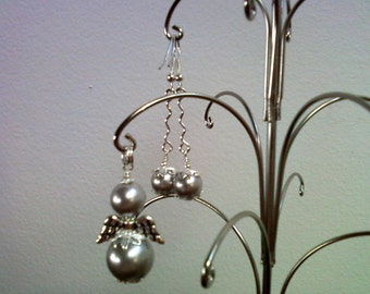 Silver Pearl Angel Pendant and matching Earrings (0138)