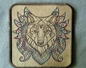 Cowhide Leather Wolf Iron on Patch