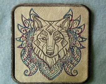 """Cowhide Leather Wolf Iron on Patch 4.5"""" x 4.3"""""""