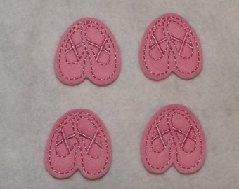 Ready to Ship Feltie Machine Embroidered Hand made (4) Felt Ballet Slipper CUT Embellishments / appliques
