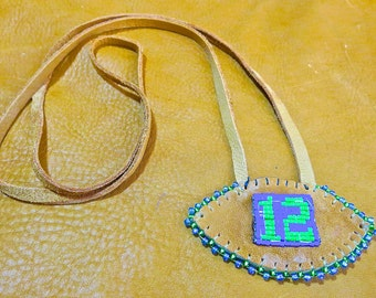 Blue and Green Beaded 12 Football Pendant