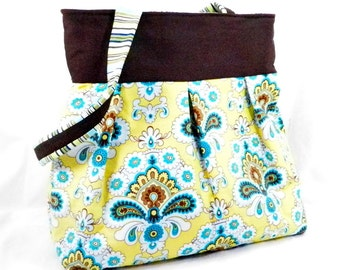 Amy Butler Purse, Yellow and Brown, French Wallpaper, Mustard and Teal, Large Purse, Large Bag, Aquamarine Custard, Belle Fabric,Diaper Bag
