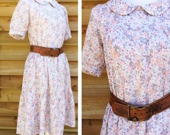 70s French VTG Bohemian flowered peasant dress