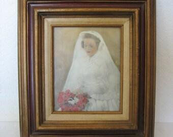 Nostalgic Bridal Picture Framed Under Glass