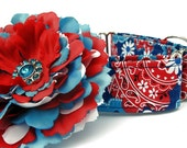 Red White and Blue Martingale Dog Collar with Flower Accessory
