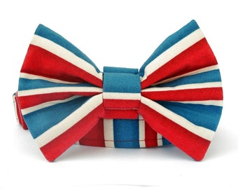 Bow Tie Dog Collar - London Calling in Red, Blue and Off White