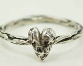 Sterling Heart Ring, Puffy Heart Sterling Silver Ring, Twig Heart Ring, Size 6 1/2 READY TO SHIP