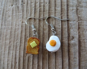 Cute Fried Egg and Toast Hand Painted Clay Earrings