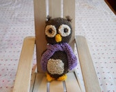 Knitted Owl with Scarf Child's Toy Stuffed Woodland Owl in Brown