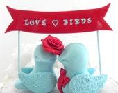 Wedding Cake Topper Love Birds, Red and Aqua - Love Birds Banner - Bride and Groom Keepsake