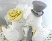 Reserved for Michelle - Love Birds Wedding Cake Topper, White, Yellow and Grey, Bride and Groom Keepsake, Fully Customizable