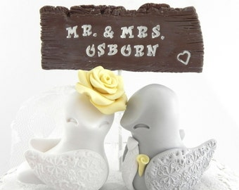 Love Bird Wedding Cake Topper and Rustic Wooden Sign - White, Grey and Yellow,  Custom Colors,