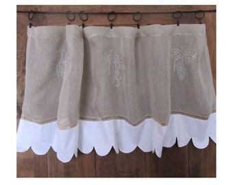 Grape Sheer Kitchen Cafe Curtain, Ecru Linen Curtain, Grapevine French Curtain , Embroidered Scalloped Window Valance