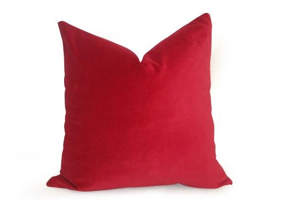 Cotton Velvet Decorative Pillows : Decorative Cotton Velvet Pillow Cover - Red - 18 inch - BOTH SIDES - Designer Pillow - Velvet ...