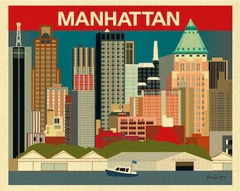 Manhattan Skyline Art Print, New York Print, NYC Skyline, New York horizontal print, NYC decor, New York Poster, NY Art Gift, style E8-O-NY7