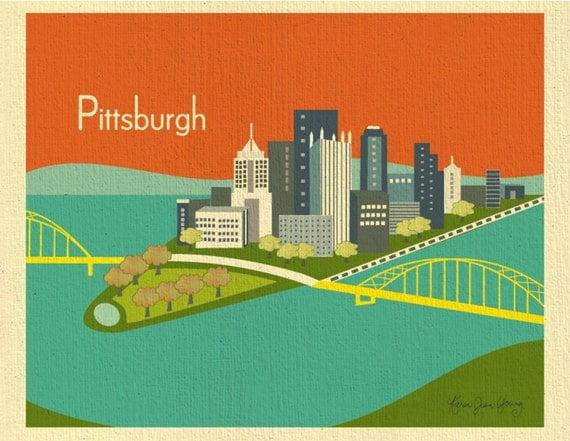 Pittsburgh Skyline Print, Pittsburgh Wall Art, Pittsburgh Artwork, Pittsburgh PA Print  - style orange E8-O-PIT1