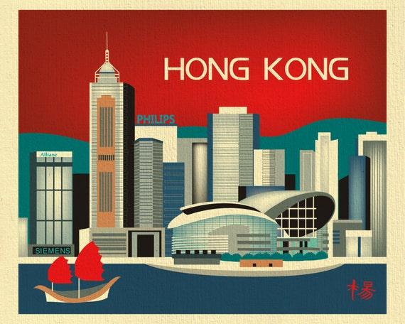 Hong Kong Skyline Art Print, Hong Kong Map Print,  Hong Kong Wall Art, Hong Kong, China, Hong Kong horizontal, Loose Petals, style E8-O- HK