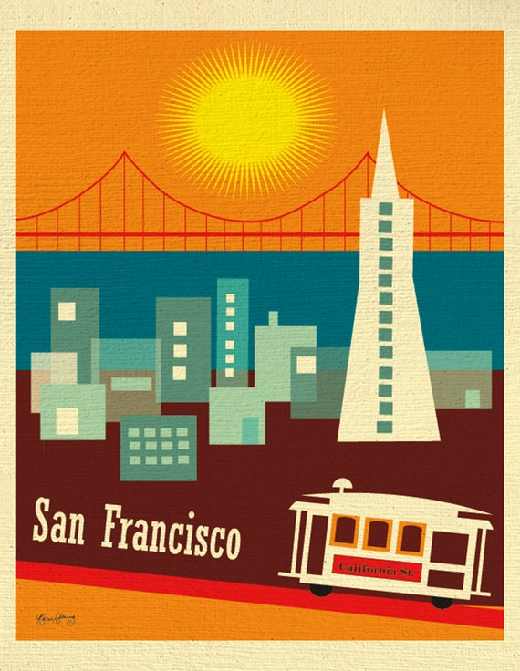San Francisco Art Print, SF CA Cable Car Art, Loose Petals  Retro California Travel Poster, San Francisco CA Vertical Art  - style E8-O-SF5