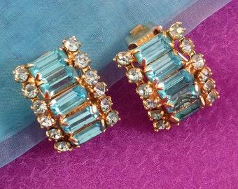 Vintage Earrings, Blue Rhinestone Clip Ons