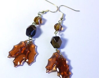 Fall Leaves Fashion Earrings / Brown Beads / Gold Earrings / Womens Earrings / Holiday Earrings