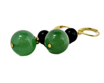 Green Aventurine and Green Zebra Jasper with Gold Beads Earrings