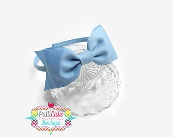 Girls Headband, Girls Headbands, Gift for Her, Light Blue Hair Bow, Toddler Headband, Little Girls Blue Bow Headband, Hairbow, Hard Headband