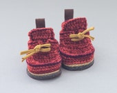 Babies Boot-laced Booties Made for Walking in rusty red and orange mix - Babies U.S. sizes 3-7 EUR 16-24