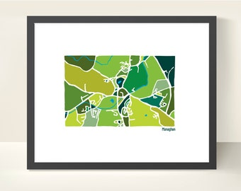 Monaghan Ireland Map - original Illustration print