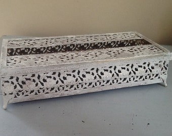 Vintage Kleenex Holder / Metal Kleenex Holder / White filligree Metal Kleenex Box