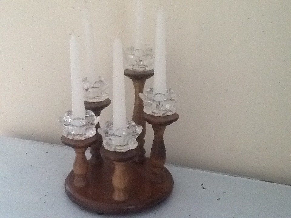 wood candle holder fireplace candle holder five wood candle