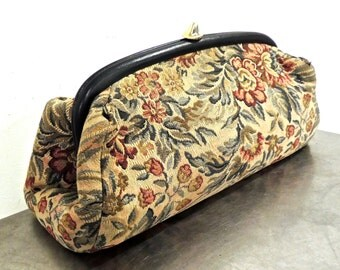 vintage tapestry clutch - 1940s-50s oversized snap top clutch purse
