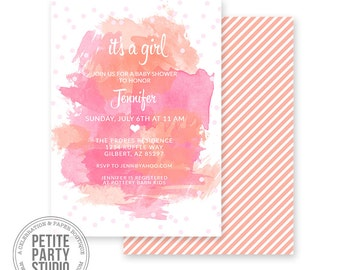 Watercolor Printable Party Invitation - Birthday or Baby Shower - Petite Party Studio