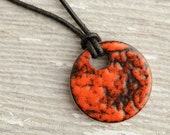 Mottled Orange & Black Enameled Copper Pendant