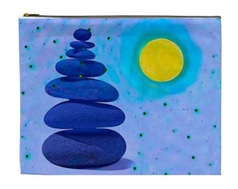 Zen balance Rocks Cosmetic pouch, Zen Rock bag, river rock pouch, bags and purses, Yoga gift accessory bag, New Age makeup pouch, visa bag