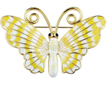 White Yellow Enamel Butterfly Pin Brooch 1002121