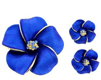 Blue Hawaiian Plumeria Brooch And Earrings Gift Set 4000038